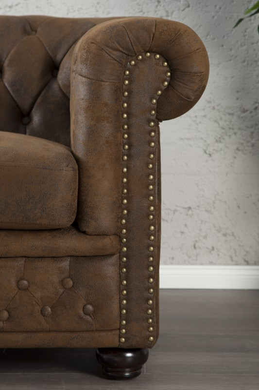 Sofa Chesterfield 2er Braun Antik Look 17109 2834