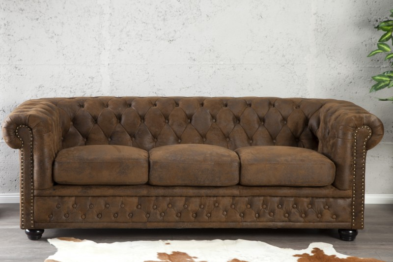 sofa chesterfield 3er braun antik look 17382 2835. Black Bedroom Furniture Sets. Home Design Ideas