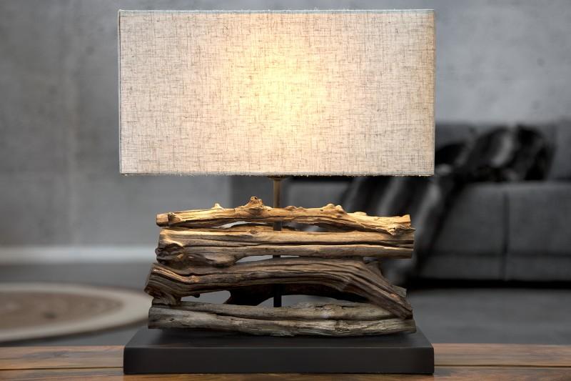 Stolní lampa Perifere 40cm - béžová, naplavené dřevo / 19477
