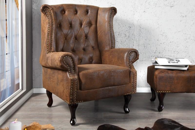 ohrensessel chesterfield braun antik look 19448 3137. Black Bedroom Furniture Sets. Home Design Ideas