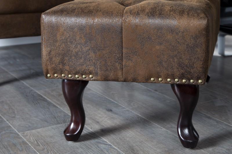 Podnožka Chesterfield 80cm x 45cm - vintage hnědá / 19449