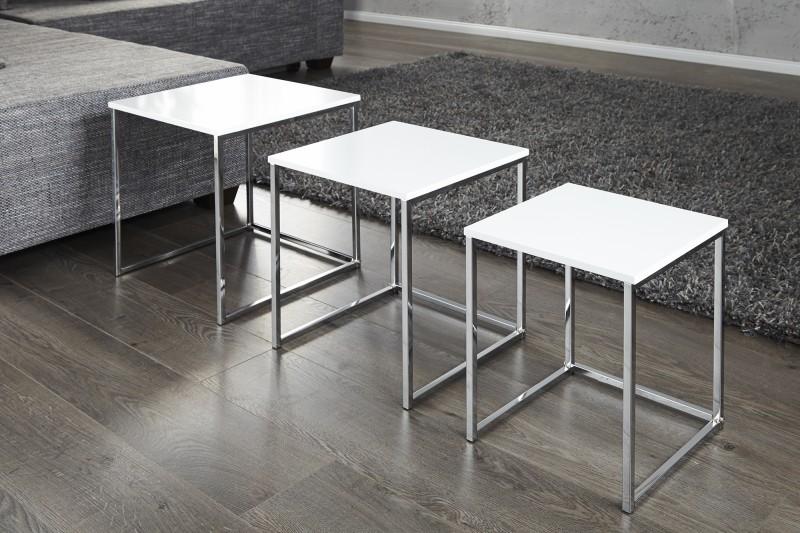 Konferenční stolek Juliet 3ks - bílý, chrom / 11839
