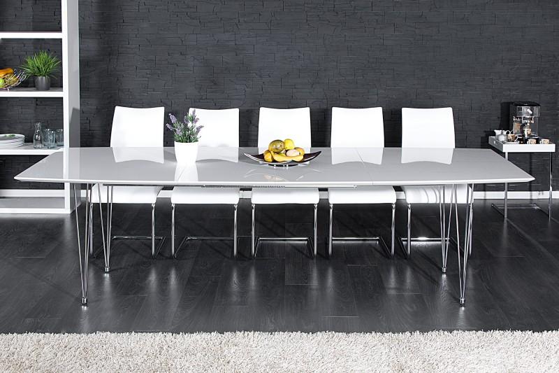 Jídelní stůl Continental 170-270cm bílý vysoký lesk / 21225