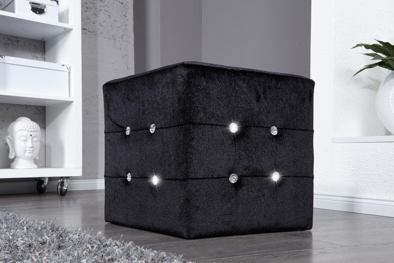 sitzhocker boutique schwarz mit strass 11042 2212. Black Bedroom Furniture Sets. Home Design Ideas
