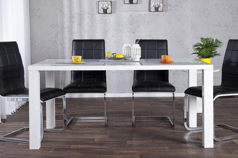 Jídelní stůl Lucente vysoký lesk bílá 160cm / 17009
