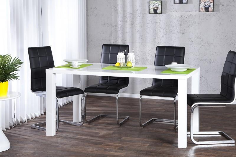 Jídelní stůl Lucente vysoký lesk bílá 140cm / 17893