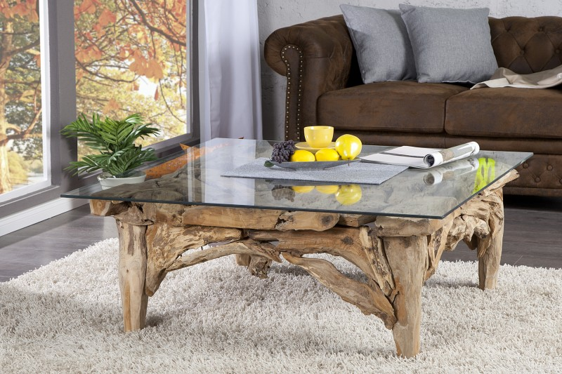 Konferenční stolek Riverside 100cm x 100cm  - naplavené dříví / 21323-1