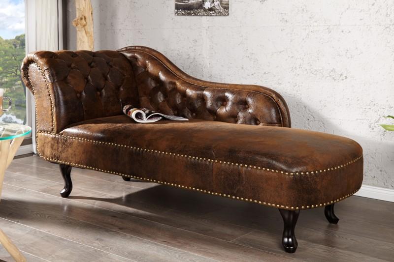 Lenoška Chesterfield 175cm - starožitná hnědá / 21628