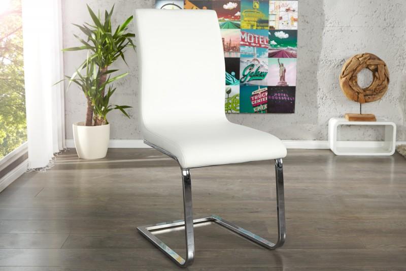 Konzolová židle Hampton syntetická kůže bílá / 22122