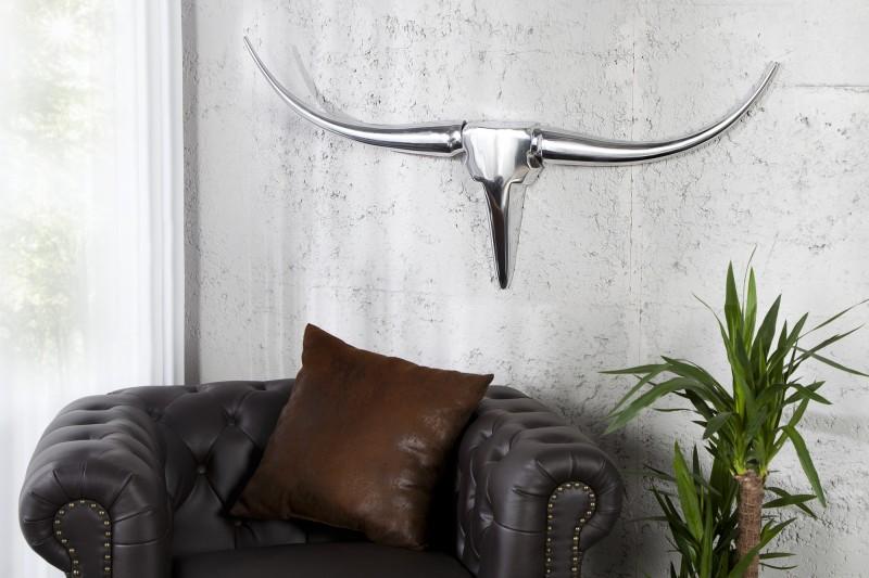 Nástěnná dekorace Bull Horns 100cm - stříbrná / 8913