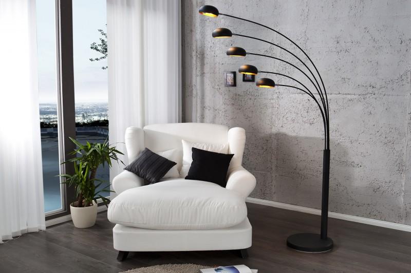 stehleuchte five lights schwarz gold 22967 3792. Black Bedroom Furniture Sets. Home Design Ideas