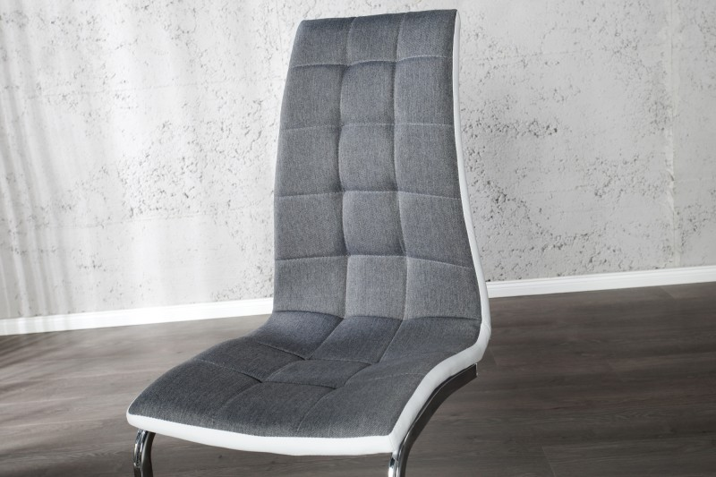 Konzolová židle London II šedá bílá s krokem / 22983