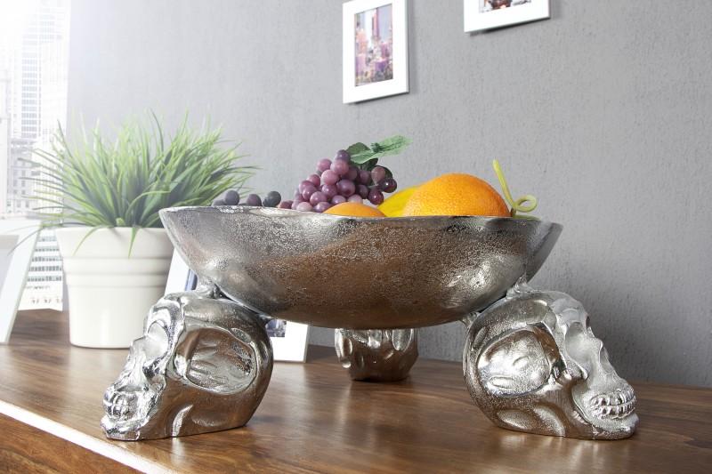 Ovocná mísa Lebka 35cm stříbrná / 22917