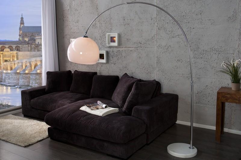 Stojací lampa Big Bow - bílá 185-205cm, stmívač / 30099