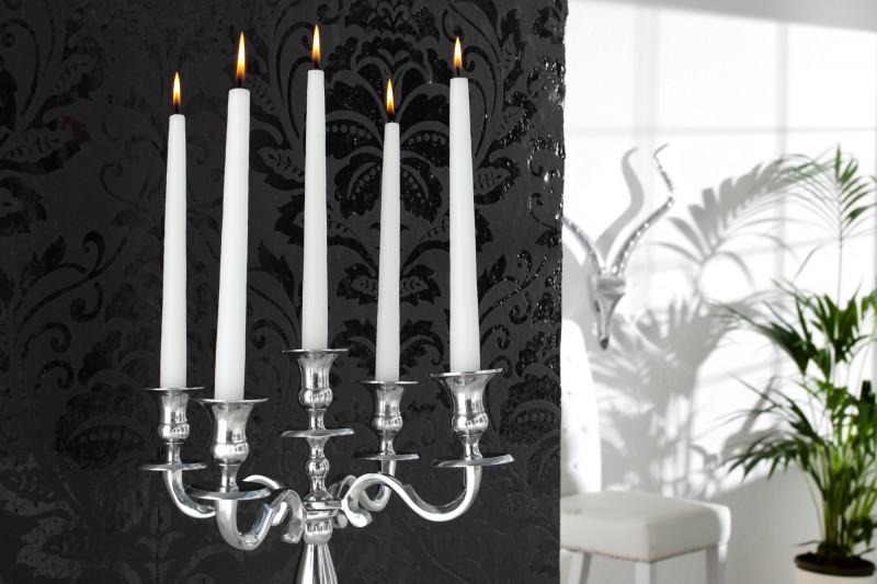 Držák na svíčku, 5-ramenní stříbro 40cm / 17363