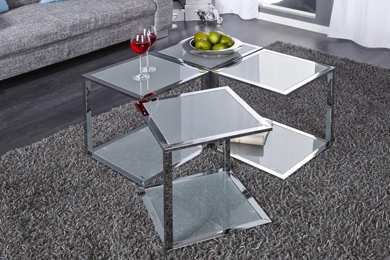 Konferenční stolek Cubetto - chrom, sklo / 16618
