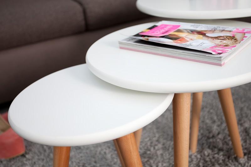 Konferenční stolek Scandinavia set 3ks - bílá / 35138