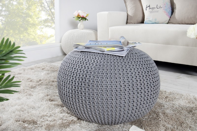 pouf leeds 50cm grau aus strick 23106 4012. Black Bedroom Furniture Sets. Home Design Ideas