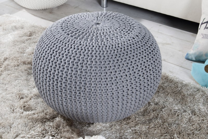 Podnožka Leeds 50cm - šedá, pletená / 23106