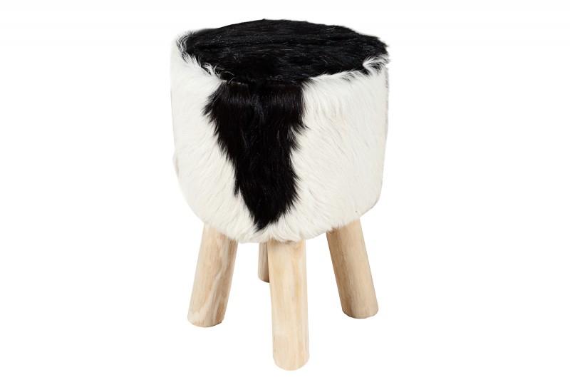 Skrýt stolici černou bílou skutečnou kozou kůži / 22582