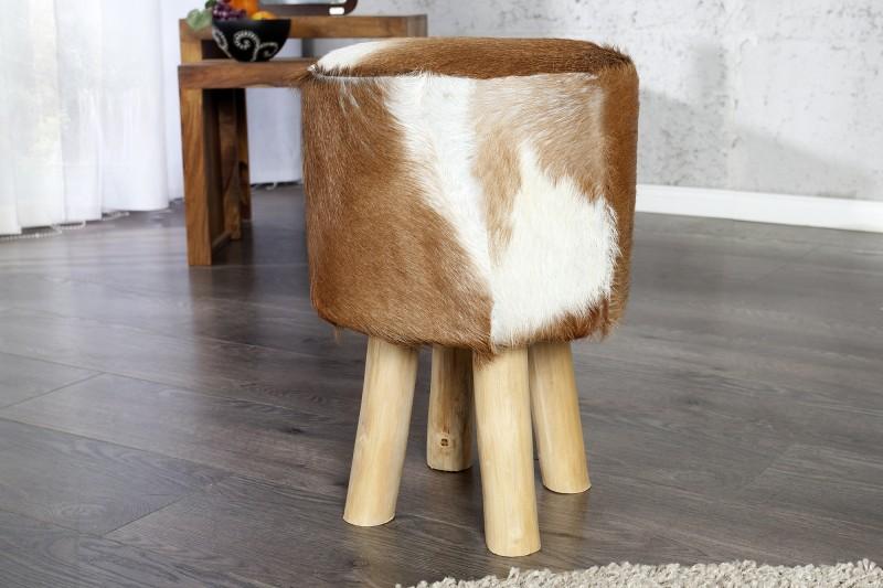 Taburet Goat 30cm / hnědo-bílý / 35441