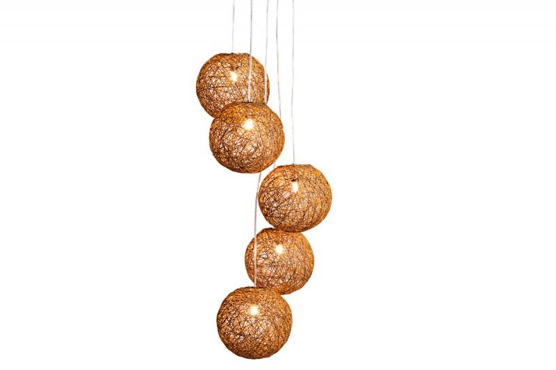Závěsná lampa Milles Pearls 5er - přírodní hnědá / 35965