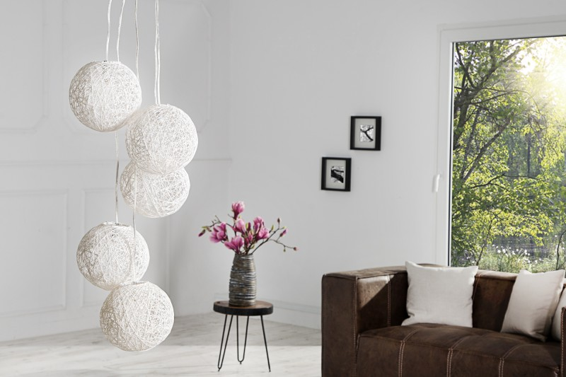 Závěsná lampa Milles Pearls 5er - bílá / 35964