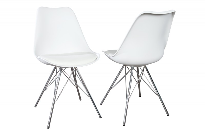 Jídelní židle Scandinavia Steel - bílá, plast / 35784