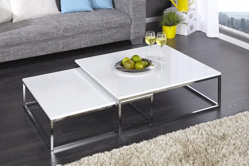 Konferenční stolek Juliet XL 2ks - bílý, chrom  / 36083
