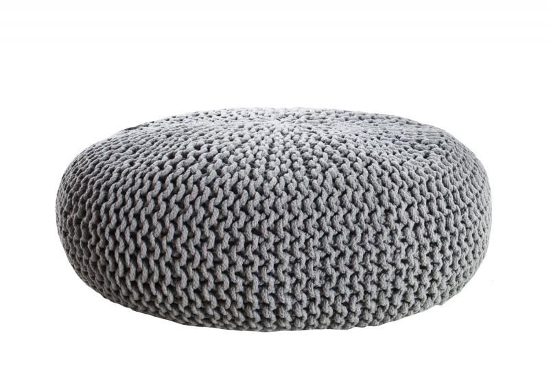 pouf leeds 75cm grau aus strick 36133 4779. Black Bedroom Furniture Sets. Home Design Ideas