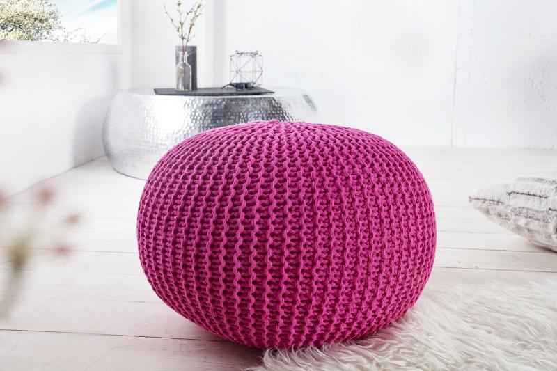 Pouf Leeds 50cm růžový pletený / 23107