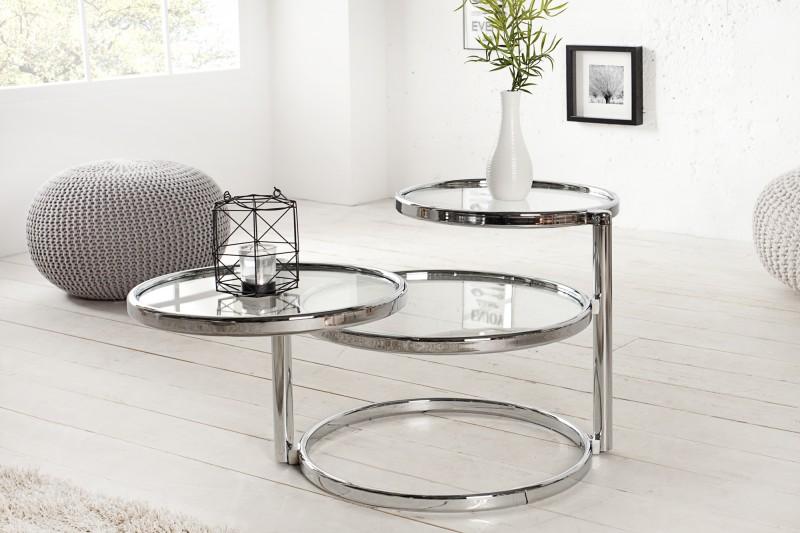 Konferenční stolek Art Deco 43cm - chrom / 36064