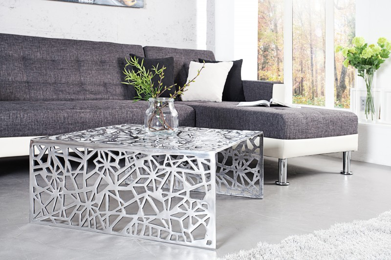Couchtisch Abstract 75cm silber 35722 4378