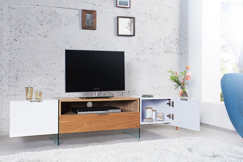 tv lowboard onyx 160cm weiss glas eiche 36201 4738. Black Bedroom Furniture Sets. Home Design Ideas