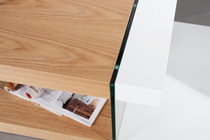 Couchtisch Onyx 110cm weiss GlasEiche 36199 4736