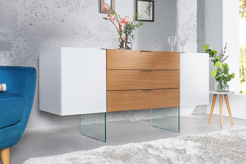 sideboard onyx 160cm weiss glas eiche 36198 4735. Black Bedroom Furniture Sets. Home Design Ideas