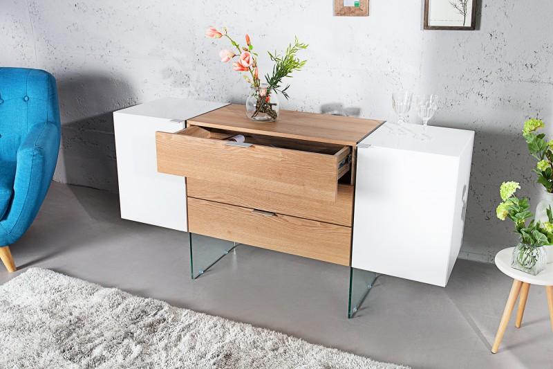 Sideboard Onyx 160cm Weiss Glas Eiche 36198 4735