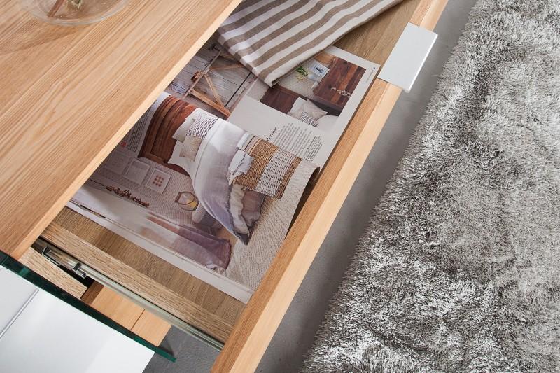 Příborník Madison 160cm x 75cm - bílá, dub, sklo / 36198