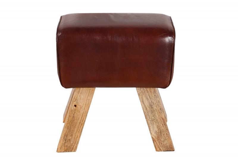 Taburet Bock 40cm x 30cm - pravá kůže / 36268 - 1ks skladem