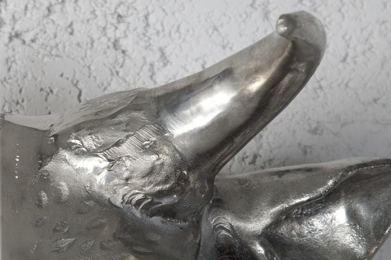 Nástěnná dekorace Bull 65cm - stříbrná / 17372