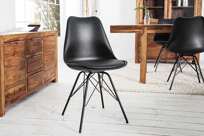 Jídelní židle Scandinavia retro - černá / 36192