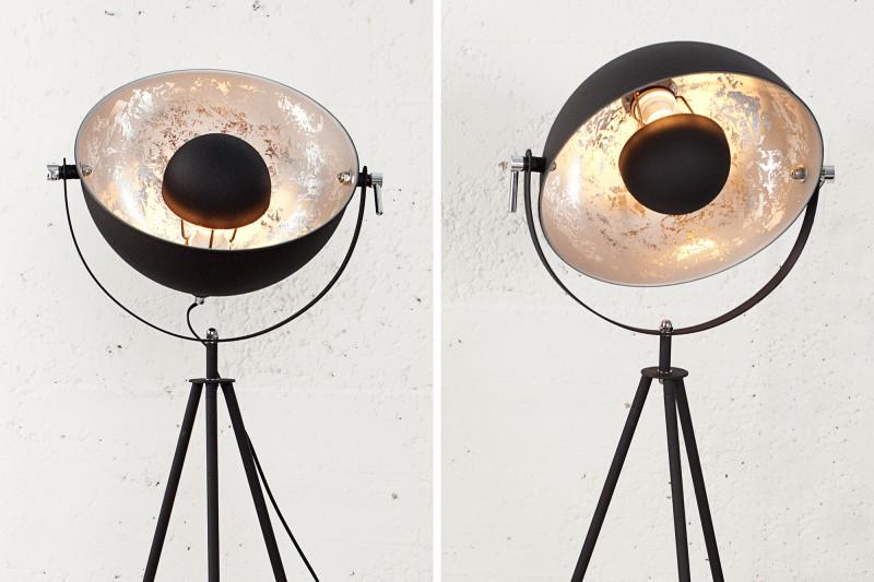 Stojací lampa Hollywood 140cm - černá, stříbrná / 36619
