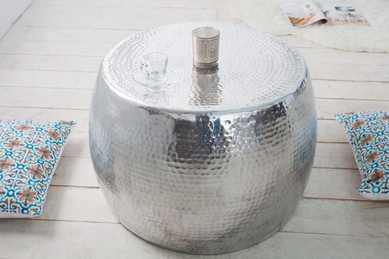 Couchtisch HammerschlagOptik 60cm silber 36461 4825