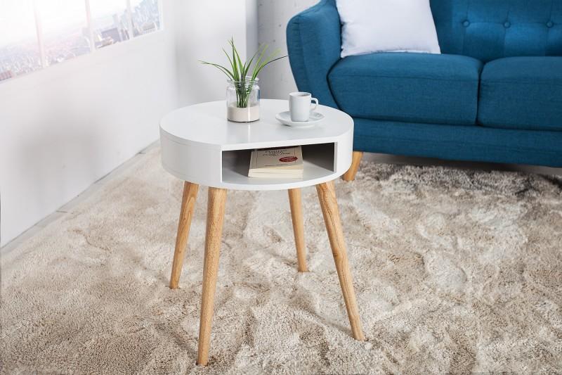 Konferenční stolek Scandinavia 45cm x 50cm - bílý, dub / 36444