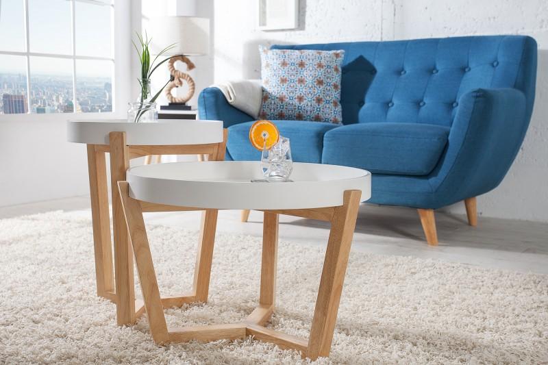 Konferenční stolek Scandinavia 2ks - bílý / 36436