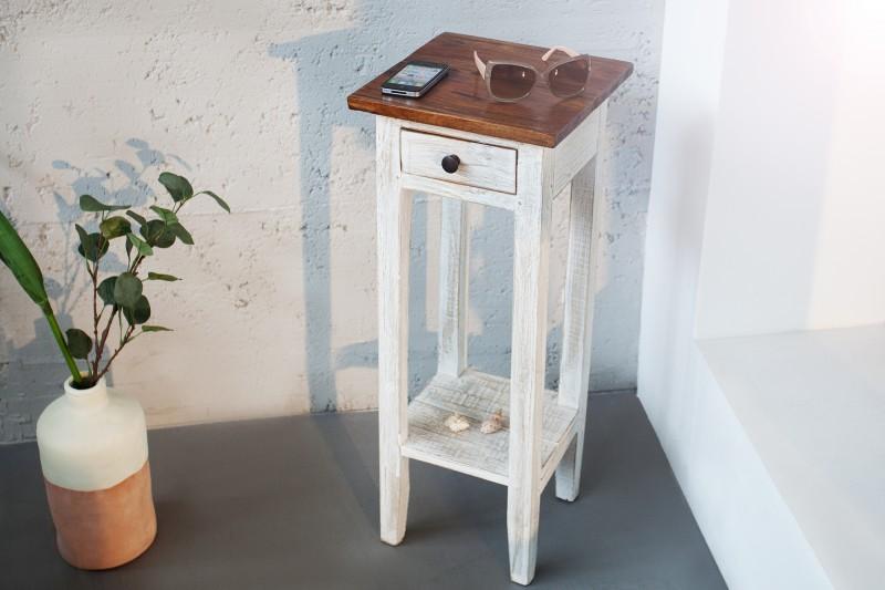 Telefonní stůl La Fleur bílý teak / 36631