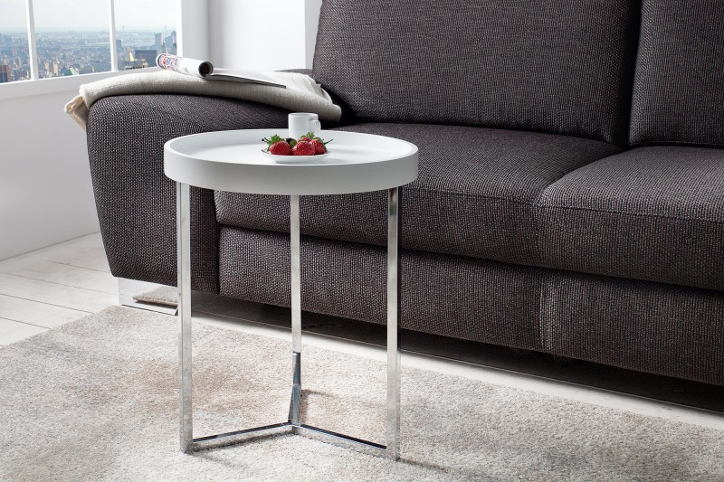 Couchtisch Modul 40cm Weiss Silber 36715 5012