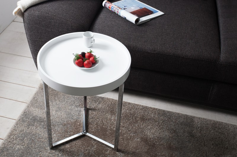 Konferenční stolek Modular 40cm - bílá, stříbrná / 36715