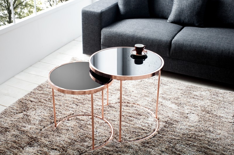 Konferenční stolek Art Deco, 2ks měď-černá / 36721