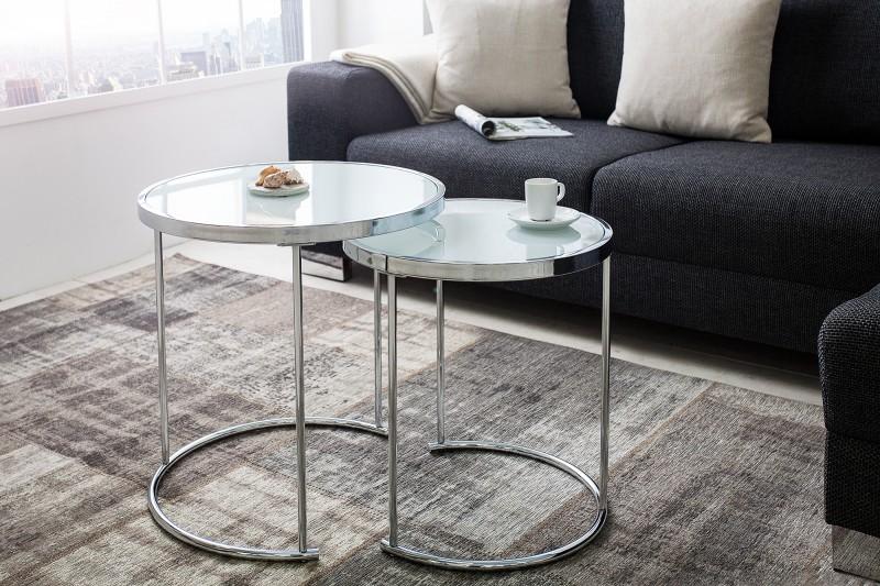 Konferenční stolek Art Deco 2ks -chrom, bílá / 36722